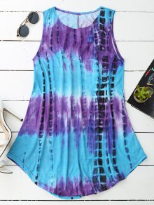 Sleeveless Trapeze Tie-Dyed Dress - Xl