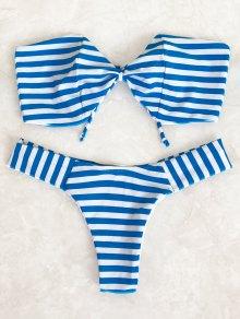 Conjunto De Bikini Con Bandas De Arco Bandeau - Azul Y Blanco S