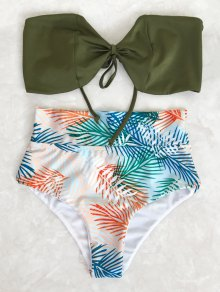 Tropical Bandeau High Waisted Bikini Set - Leaf