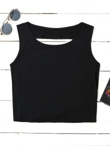 Crossover Backless Tank Top - Black S