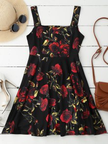 Rose Print Sleeveless Skater Dress - Black S