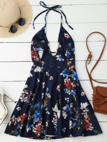 Halter Plunge Backless Floral Dress - Deep Blue