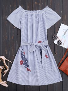 Belted Off The Shoulder Casual Dress
