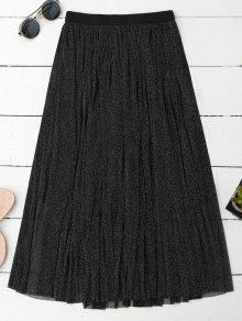 Midi Glitter Mesh Skirt - Black