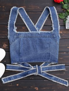 Bowknot Criss Cross Denim Crop Top - Denim Blue S