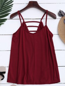 Ladder Cutout Trapeze Cami Top - Rojo Ladrillo Xl