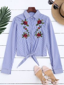 Floral Embroidered Tied Striped Shirt - Stripe