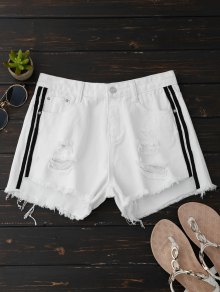 Ripped Denim Shorts With Side Stripes