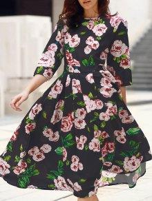3/4 maniche stampa floreale Vestito longuette - Nero