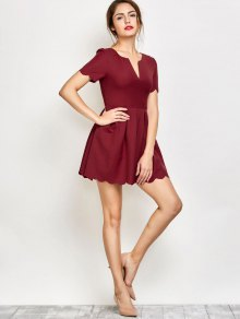 Ruched Scalloped A-Line Dress - Red S