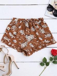 Drawstring Floral Ruffled Shorts - Floral