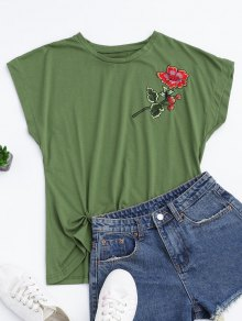 Cotton Floral Embroidered Draped Top - Green M