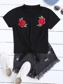 Floral Applique Choker T-Shirt - Noir