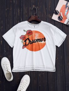 Embroidered Printed Cotton T-Shirt - White M
