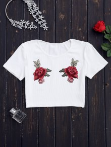 Tejido De Punto Floral Patched Ribbed - Blanco M