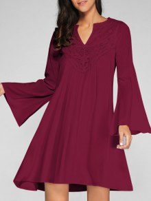Flare Sleeve Trapeze Dress - Wine Red Xl