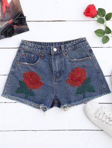 Cutoffs Embroidered Denim Shorts