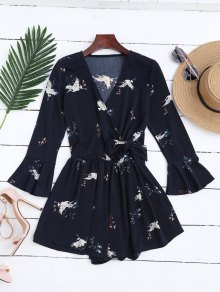 Surplice Floral Flare Sleeve Romper - Purplish Blue S