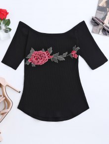 Embroidered Floral Boat Neck Ribbed Tee - Black M