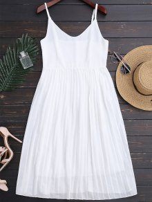 Chiffon Pleated Beach Slip Dress - White M