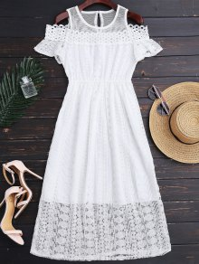 Cold Shoulder Midi Crochet Lace Dress - White