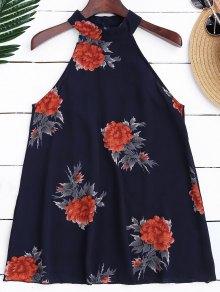 Floral Print Flowy Choker Halter Top