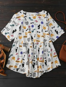 Cartoon Painting Smock Top - L