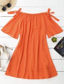 Vestido De Gasa Con Hombros Al Aire Con Mangas Con Lazo - Naranja L
