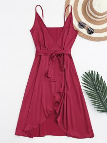 Spaghetti Straps Satin Belted Wrap Dress - Red