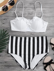 Ruffled Striped Underwire High Waisted Bikini