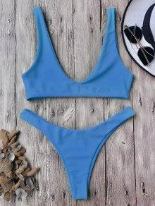 High Cut Scoop Bikini Set - Blue