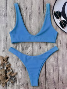 High Cut Scoop Bikini Set - Blue