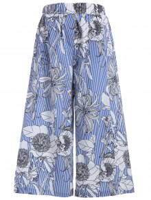 Floral Stripes Wide Leg Pants