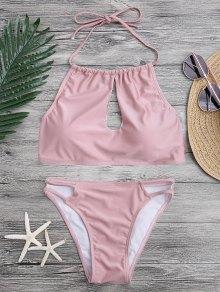 Keyhole Cut Out Halter Bikini Set - Pink S