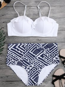 Ruffled Patterned Underwire High Waisted Bikini - White L