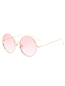 Wavy Metallic Frame Leg Ombre Round Sunglasses - Pink