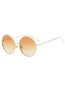 Wavy Metallic Frame Leg Ombre Round Sunglasses - Light Yellow