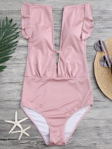 Frilled Plunge One Piece Swimsuit - Pink