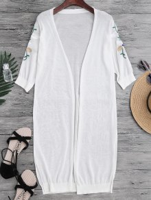 Slit Floral Embroidered Longline Cover Up