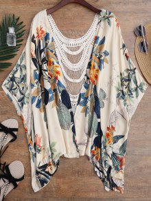 Floral Crochet Panel Kimono Cover Up - Floral