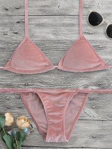 Halter Velvet Thong Bikini Set