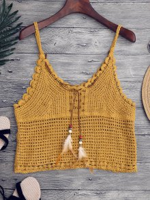 Crochet Cami Cover Up with Feather
