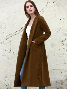 Lapel Solid Color Long Overcoat - Camel S