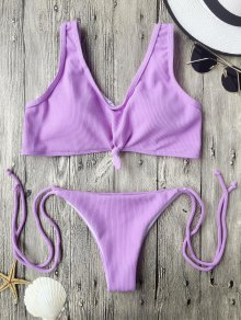 Ribbed Knotted String Bralette Bikini - Purple