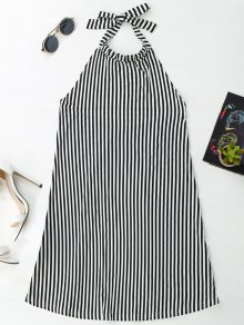 Halter Backless Striped Dress - Stripe S