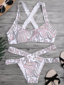 Printed Cross Back Bandage Bikini Set