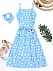 Belted Tiny Floral Cami Dress With Scarf - Azure M
