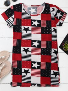 Patriotic American Flag T-Shirt Dress