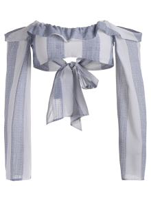 Long Flare Sleeve Tie Front Crop Top - Stripe