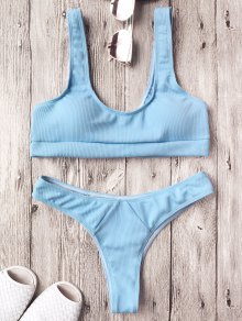 Ribbed Midi Bralette Bikini Set - Light Blue S